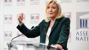 La présidente du Rassemblement national Marine Le Pen le 9 mars 2021 à Paris.