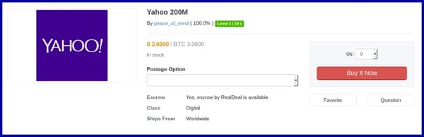 Base d'identifiants Yahoo en vente dans le Darkweb
