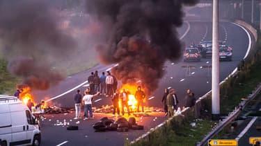 Manifestation sur l'autoroute A1 près de Roye le 29 août 2015.