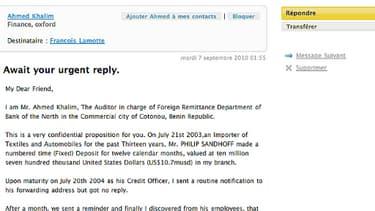 """Un exemple d'arnaque par e-mail. Cette escroquerie très courante porte le nom d'""""arnaque à la nigériane""""."""