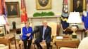 Donald Trump et Angela Merkel dans le Bureau ovale