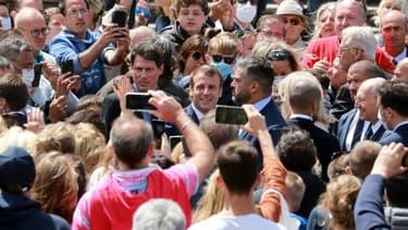 Le président français Emmanuel Macron après avoir voté lors du scond tour des municipales, le 28 juin 2020 au Touquet