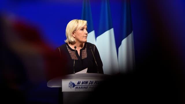 Marine Le Pen lors de son meeting à Metz, le 18 mars 2017.