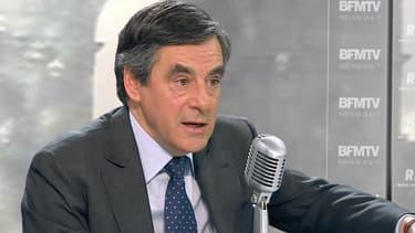 François Fillon sur le plateau de BFMTV-RMC, le 4 mars 2015.