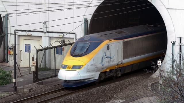 Un train Eurostar dans le tunnel sous la Manche, le 10 avril 2014.