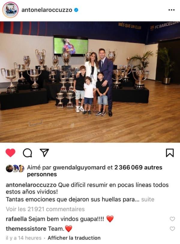 La soeur de Neymar commente une publication de la femme de Messi