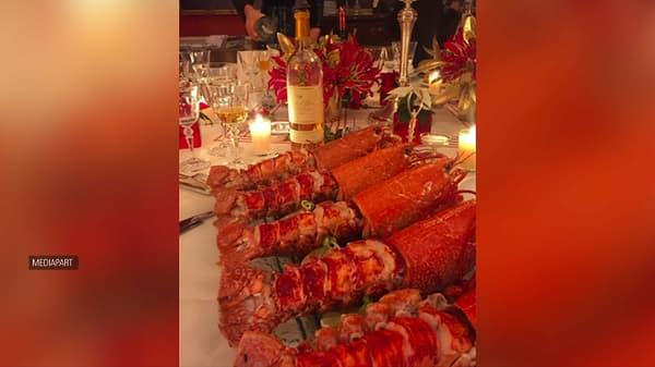 Des homards près d'un Château Yquem.