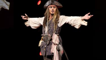 Johhny Depp déguisé en Jack Sparrow à Anaheim en 2015