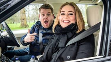 La chanteuse Adèle lors de son passage dans l'émission Carpool karaoke