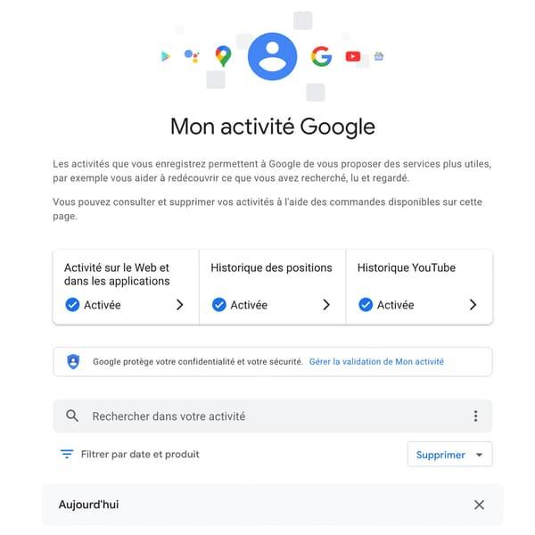 """La page """"My Activity"""" de Google"""