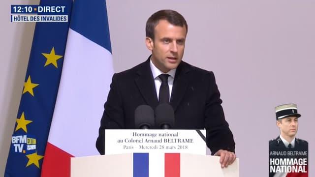 Emmanuel Macron est revenu sur le meurtre de Mireille Knoll lors de l'hommage national rendu au gendarme Arnaud Beltrame.