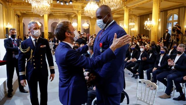 Emmanuel Macron et Teddy Riner