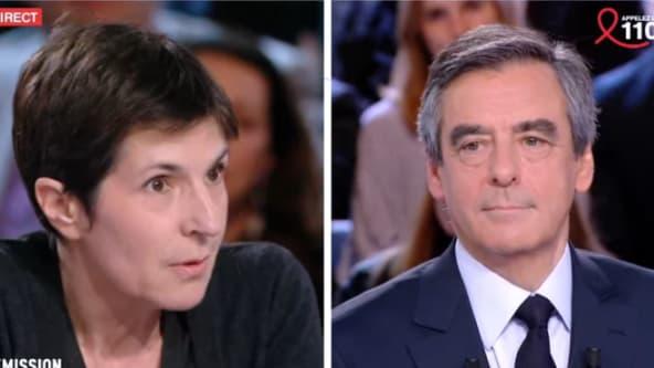 """Christine Angot face à François Fillon, dans """"l'Emission politique"""" jeudi soir sur France 2."""
