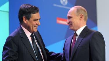 François Fillon et Vladimie Poutine lors de leur rencontre, le 19 septembre.