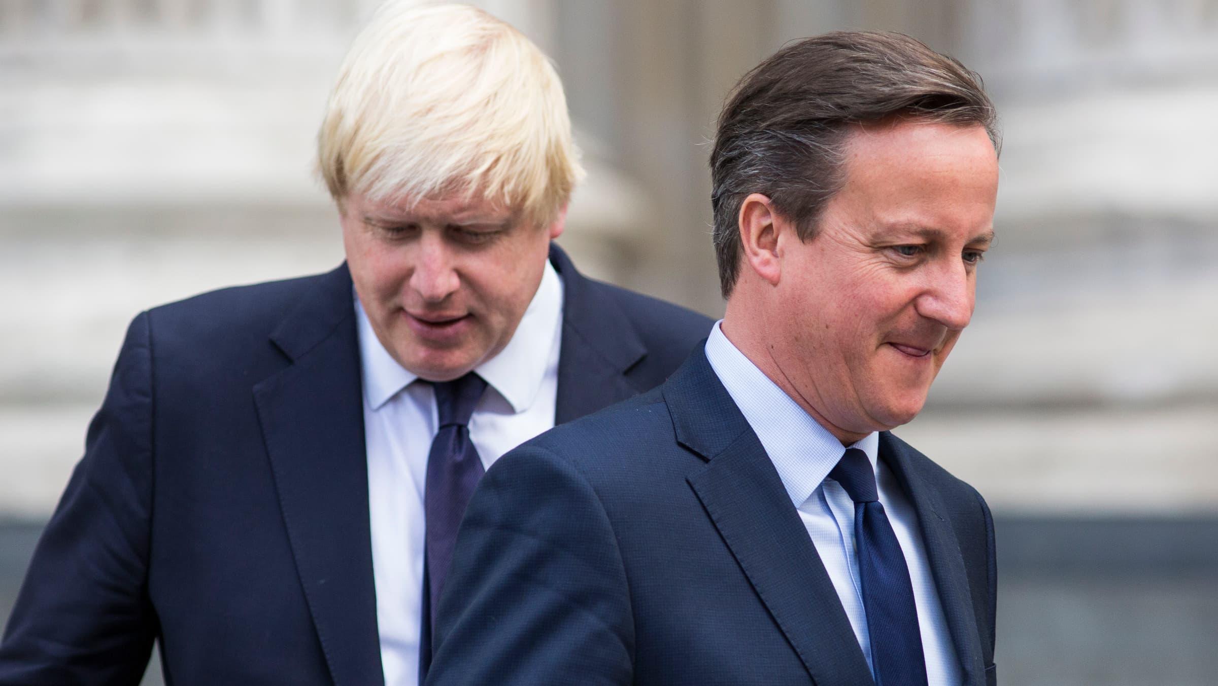 Boris Johnson (à gauche) pour succéder à David Cameron à Downing Street en cas de victoire du Brexit.