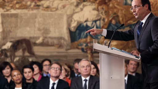 François Hollande lors de sa conférence de presse mardi 13 novembre à l'Elysée.