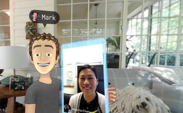 Mark Zuckerberg et son avatar posant avec son épouse.