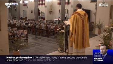 En Corse, un prêtre célèbre sa messe devant des photos de ses paroissiens