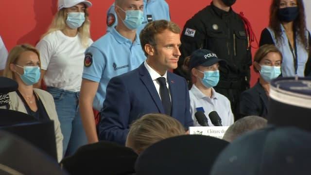 Emmanuel Macron à Roubaix pendant la clôture du Beauvau de la sécurité le 14 septembre 2021
