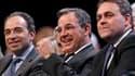 Thierry Mariani (au centre), tête de liste UMP en Provence-Alpes-Côte d'Azur, entouré du secrétaire général du parti majoritaire, Xavier Bertrand (à droite), et du président du groupe UMP à l'Assemblée nationale, Jean-François Copé. A quelques jours du pr