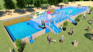 Une piscine éphémère installée au parc de la Tête d'Or (visuel non contractuel).
