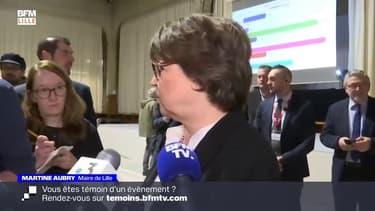 """Municipales à Lille: """"Le gouvernement et le Président sont les seuls à avoir l'ensemble des informations. Dans un contexte sanitaire aussi, grave, c'est à eux de prendre la décision sur ces élections"""", explique Martine Aubry"""