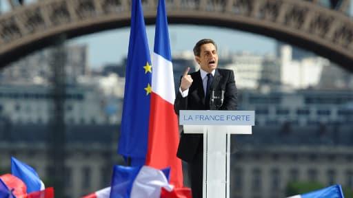 Nicolas Sarkozy, lors d'un meeting le 1er mai 2012 au Trocadéro.