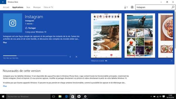 L'application Instagram est disponible depuis le 13 octobre sous Windows 10.
