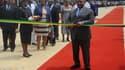 Le président gabonais Ali Bongo, lors de l'inauguration d'un stade de la CAN.