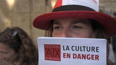 Intermittents du spectacle à Aix-en-Provence, le 14 juin 2014.