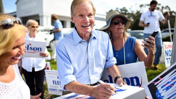 Bill Nelson en campagne à Melbourne, en Floride, le 5 novembre.