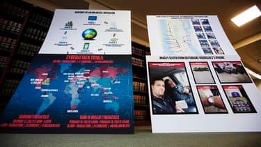 Conférence de presse à New York présentant des détails d'une gigantesque fraude à la carte bancaire. Sept personnes ont été arrêtées aux Etats-Unis dans le cadre d'une enquête portant sur huit individus accusés d'avoir dérobé 45 millions de dollars (34,50