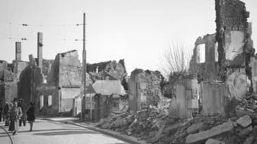 Une photo non datée du village en ruines d'Oradour-sur-Glane, où 642 Français ont été massacrés par les nazis en juin 1944.