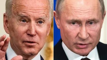 Combinaison de photos du président américain Joe Biden (g) le 17 mars 2021 à la Maison Blanche à Washington, et du président russe Vladimir Poutine (d), le 5 mars 2020 au Kremlin à Moscou