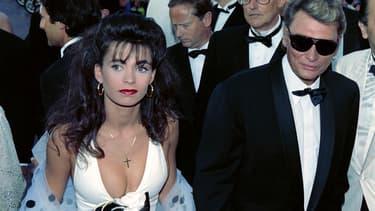 Adeline Blondieau et Johnny Hallyday, en 1990, alors mari et femme.