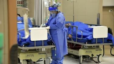 Une soignante s'occupe de patients atteints par le coronavirus à l'hôpital Carolos Andrade Marin, le 17 juin 2020 à Quito, en Equateur