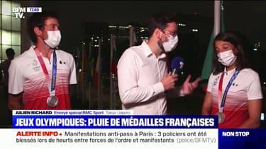 Charline Picon et Julien Richard partagent leur bonheur après avoir remporté l'argent en planche à voile RS:X aux JO de Tokyo