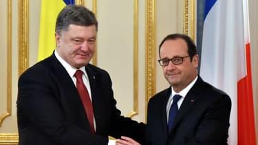 François Hollande avec Petro Porochenko, le président ukrainien, le 5 février 2015