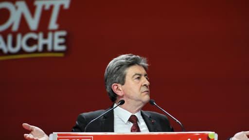 Jean-Luc Mélenchon lors d'un meeting de campagne, en avril 2012.