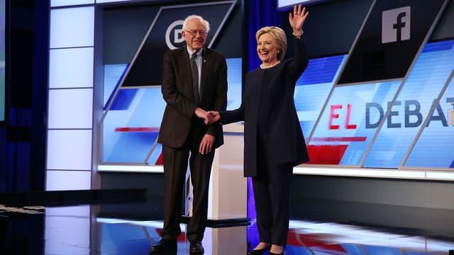 Bernie Sanders et Hillary Clinton pendant le débat démocrate, le 9 mars.