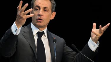 Nicolas Sarkozy, lors d'un meeting le 10 novembre à Caen.