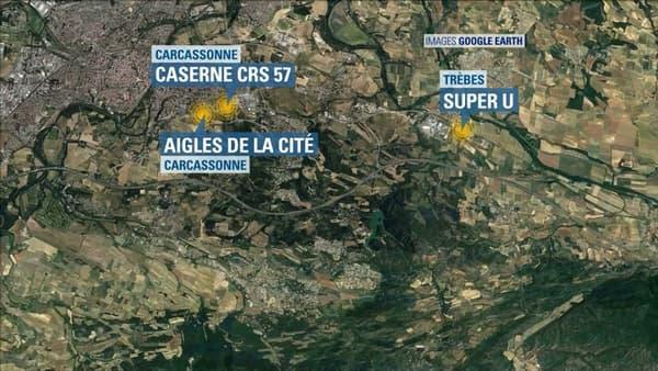 La carte des lieux des attaques.
