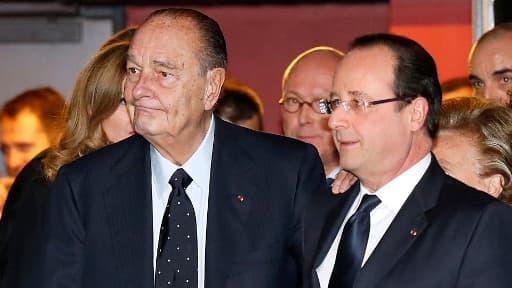 Jacques Chirac et François Hollande au Musée du Quai Branly, le 21 novembre dernier.