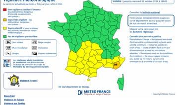 Carte de vigilance diffusée par Météo France mardi 30 septembre 2014 à 16 heures. Le département du Var est le seul en vigilance orange.