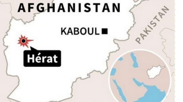 Carte de localisation de l'attentat-suicide contre une mosquée chiite de Hérat (Afghanistan).