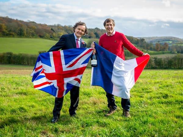 Pierre-Emmanuel Taittinger, patron de la maison de Champagne et son partenaire britannique Patrick McGrath, directeur général de Hatch Mansfield qui ont créé le domaine Evremond.