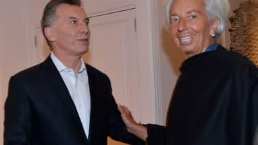 Mauricio Macri, président argentin, et Christine Lagarde, présidente du FMI