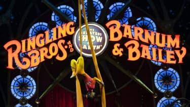 Un numéro d'équilibriste du cirque Barnum, le 19 mars 2015 à Washington