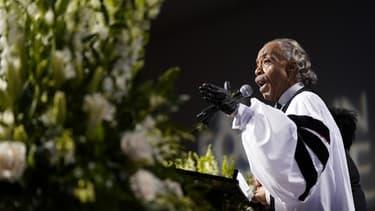 Le révérend Al Sharpton lors des obsèques, mardi au Texas, de George Floyd.