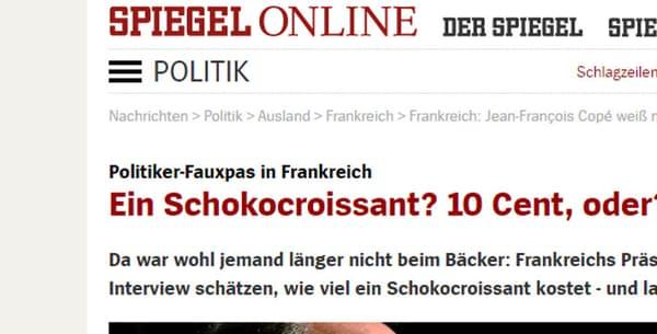 """""""Le 'faux pas' d'un politicien en France"""", écrit Der Spiegel mardi 25 octobre 2016 sur son site Internet."""